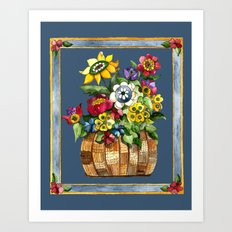 Happy Flowers With a Border Art Print