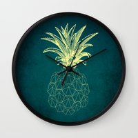 y-hello pineapple Wall Clock