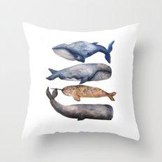 Whales // Fashion Illustration Throw Pillow