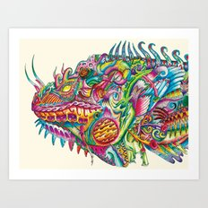 Iguana in Armor Art Print