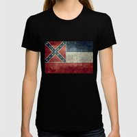 Mississippi State Flag, Distressed version Womens Fitted Tee Black SMALL