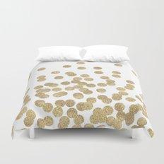 Gold Glitter Dots in scattered pattern Duvet Cover