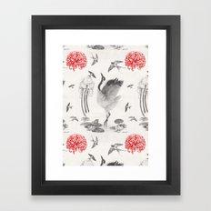 Crane, Swallow, Frog Framed Art Print