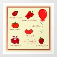 Colors: red (los colores: rojo) Art Print
