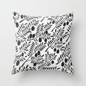 Black Olive Branches Throw Pillow