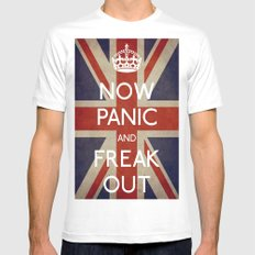 NOW PANIC AND FREAK OUT SMALL White Mens Fitted Tee