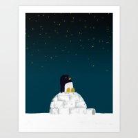 Star Gazing - Penguin's … Art Print