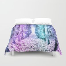 Magical Forest Lavender Aqua Teal Ombre Duvet Cover