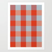 Pixel Plaid - Autumn Bark Art Print