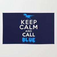Keep Calm and Call Blue | Jurassic Raptor Dinosaur Rug