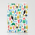 Tropical Vacation Island print pattern fun beach surf sand fun gift for trendy dorm room bright  Stationery Cards