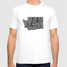Typographic Washington Mens Fitted Tee SMALL White