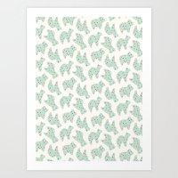 Animal Cookies - in Mint Art Print