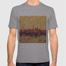 Paris Skyline  Mens Fitted Tee Athletic Grey SMALL