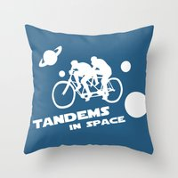Tandems In Space In Blue Throw Pillow