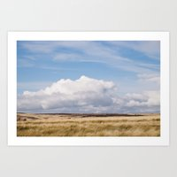 Blue sky and white clouds above sunlit moorland. Derbyshire, UK. Art Print