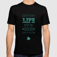 Believe Life Black SMALL Mens Fitted Tee