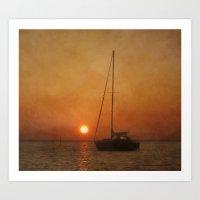 A Ship In The Night Art Print