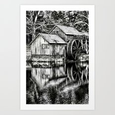 The Old Mill Black And W… Art Print