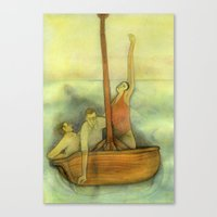 Three lost in a ship Canvas Print