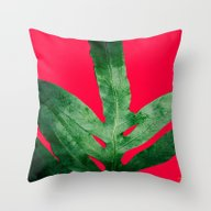 Green Fern On Bright Red Throw Pillow