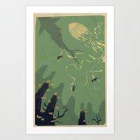 Meanwhile, Deep Below...… Art Print