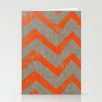 Orange Chevron On Linen Stationery Cards