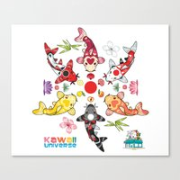 Kawaii Koi Lotus Mandala Canvas Print