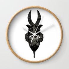 Horned tribal mask Wall Clock
