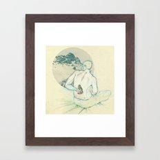 Boy and bird. Framed Art Print