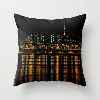 Seoul City Lights Throw Pillow