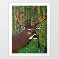 Buck By The Forest Art Print