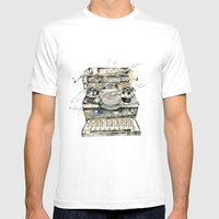 Vintage Typewriter Mens Fitted Tee White SMALL