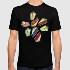 Easy As Pie - cute hand drawn illustrations of pie on neutral tan Mens Fitted Tee SMALL Black