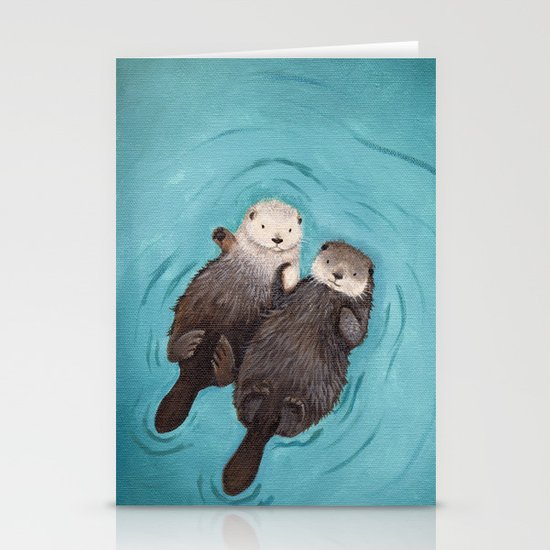 Otterly Romantic - Otters Holding Hands Stationery Card