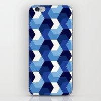 Blue Hexagons iPhone & iPod Skin