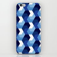 Blue Hexagons iPhone & iPod Skin