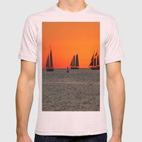 Key West - Sailboats in the Sunset Mens Fitted Tee Light Pink SMALL