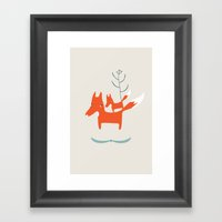 Love Me Love My Foxes.  Framed Art Print