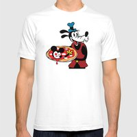 MICKEY'S PIZZA Mens Fitted Tee White SMALL