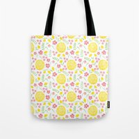 Watercolor floral pattern with doily Tote Bag
