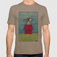 Pilot Snoopy Mens Fitted Tee Tri-Coffee SMALL