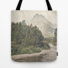 Retro Mountain River Tote Bag