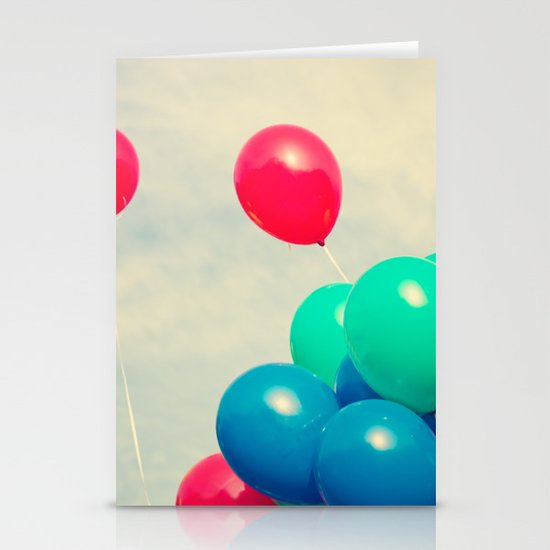 Red and Blue balloons on retro sky Stationery Card