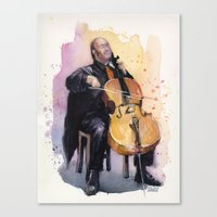 Cello Music Watercolor C… Canvas Print