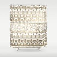 Modern faux gold foil aztec leopard pattern Shower Curtain