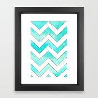 Blue Chevron Framed Art Print