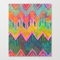 Tribal Chevron - Yellow Canvas Print