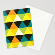 Teal, mustard, black & yellow triangles Stationery Cards