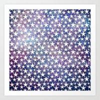 White stars on bold grunge blue background Art Print